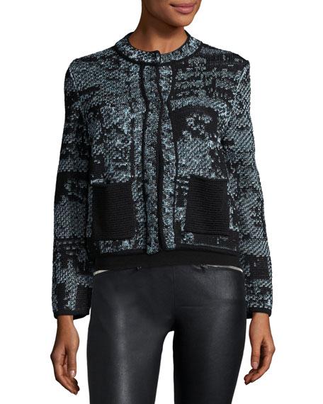 Jewel-Neck Cropped Boucle Jacket, Ice Best Price