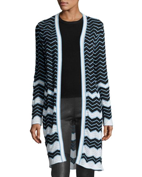 M Missoni Long Cotton-Blend Zigzag Cardigan, Black