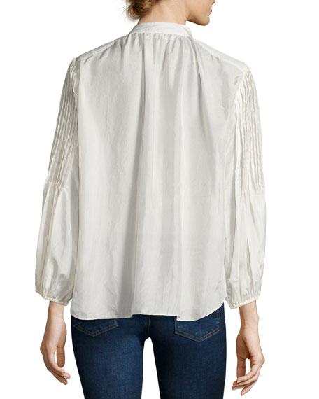 Bravo Pintuck-Sleeve Blouse, Cream