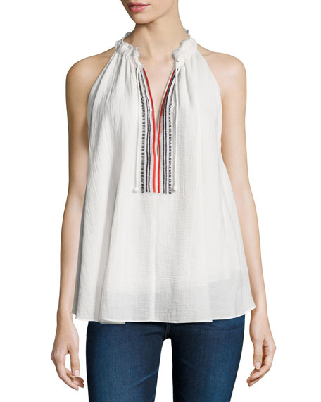 Apiece Apart Asientos Embroidered Sweep Top, Cream