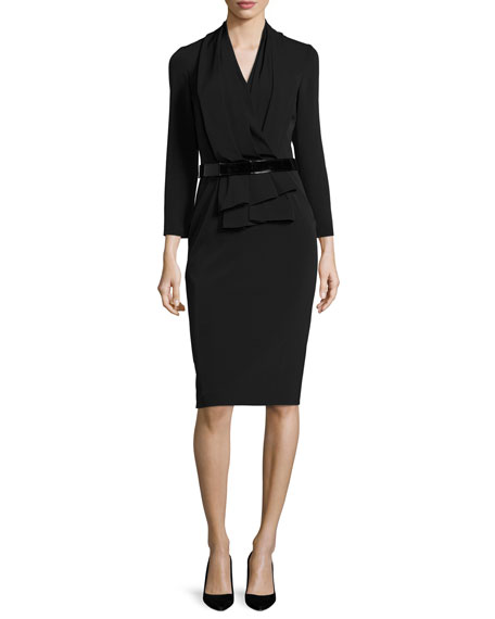 3/4-Sleeve Belted Stretch Crepe Sheath Dress, Black