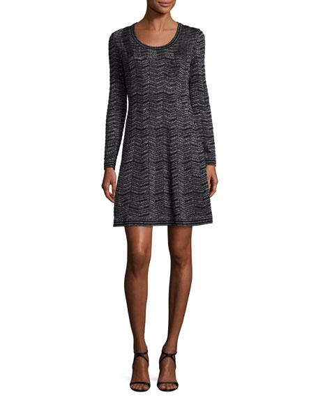 M Missoni Long-Sleeve Zigzag Lurex?? A-Line Dress, Black