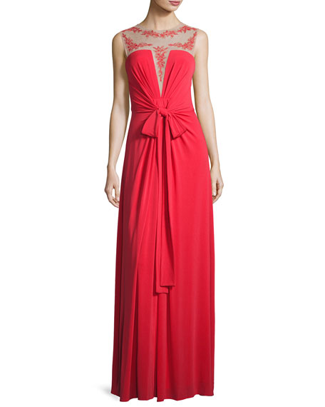 BCBGMAXAZRIA Embroidered Illusion-Neck Gown, Red