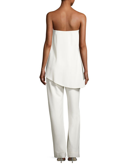 Strapless Jumpsuit w/ Asymmetric Overlay, Chalk
