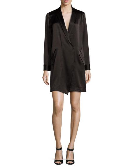 Halston Heritage Long-Sleeve Shawl-Collar Satin Shirt Dress,