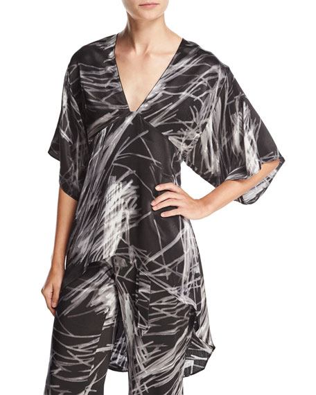 Halston Heritage High-Low Printed Kimono Top, Black Reflection