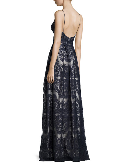 Sleeveless Pleated Lace Gown, Deep Sea/Silver Gray