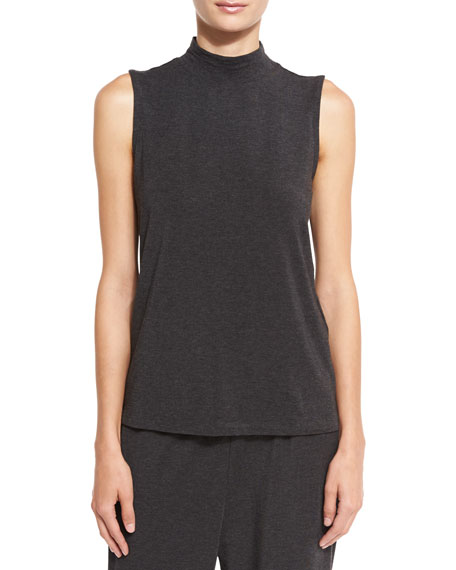 Eileen Fisher Mock-Neck Sleeveless Jersey Shell, Charcoal