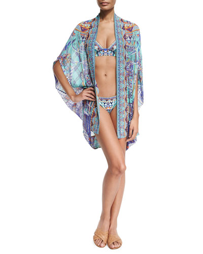 Open-Front Embellished Silk Cardigan/Cape Coverup, Divinity Dance
