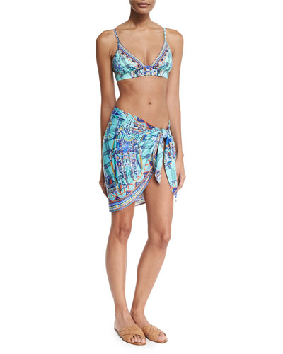 Printed Short Sarong Coverup, Divinity Dance