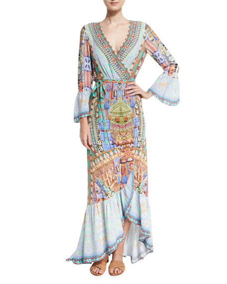 Camilla Bell-Sleeve Printed Wrap Maxi Dress, Go Your