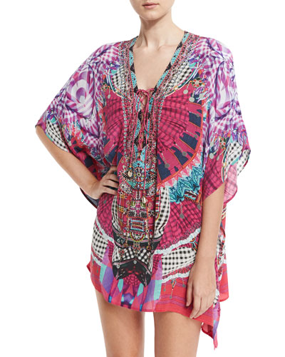 Embellished Lace-Up Silk Caftan Coverup, Desert Discotheque