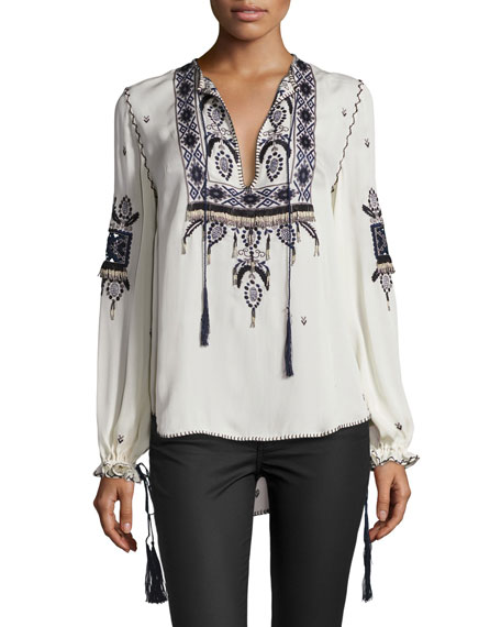 Haute Hippie Talitha Embroidered Silk Blouse, Moonstone