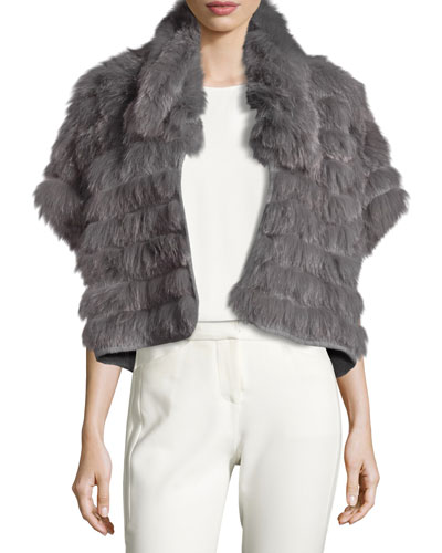 Short-Sleeve Cropped Fur Jacket, Gray