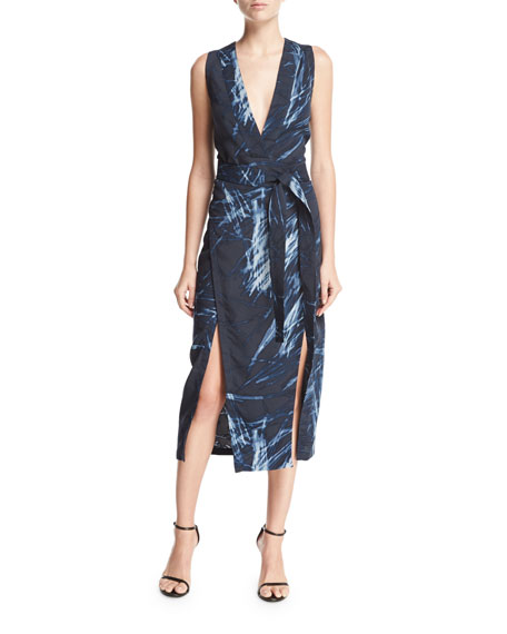 Halston Heritage Sleeveless Printed V-Neck Tunic Dress