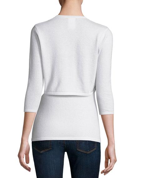3/4-Sleeve Sequin Cashmere Shrug