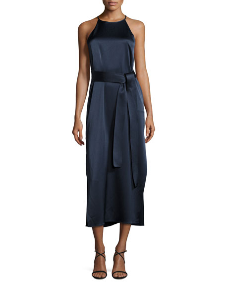 Halston Heritage Racerback Satin Slip Dress, Dark Navy