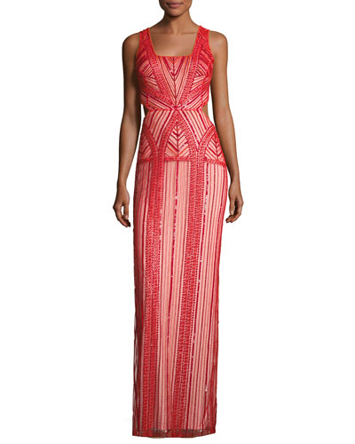 Sleeveless Patterned Beaded Column Gown, Ruby