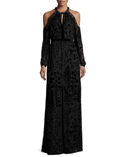 Floral Burnout Cold-Shoulder Column Gown