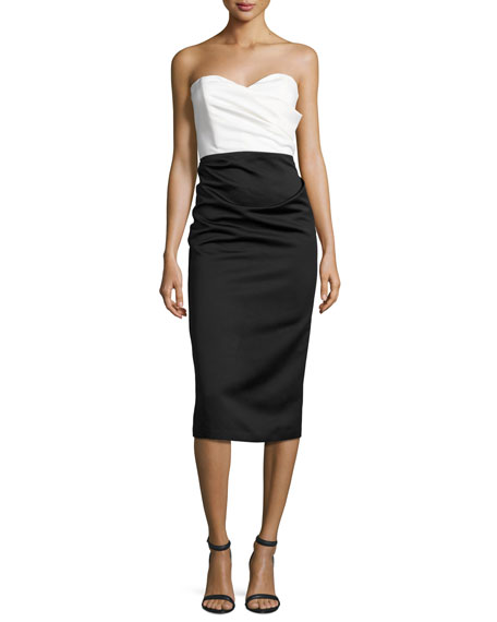Parker Satin Two-Tone Sweetheart Sheath Dress, Ivory