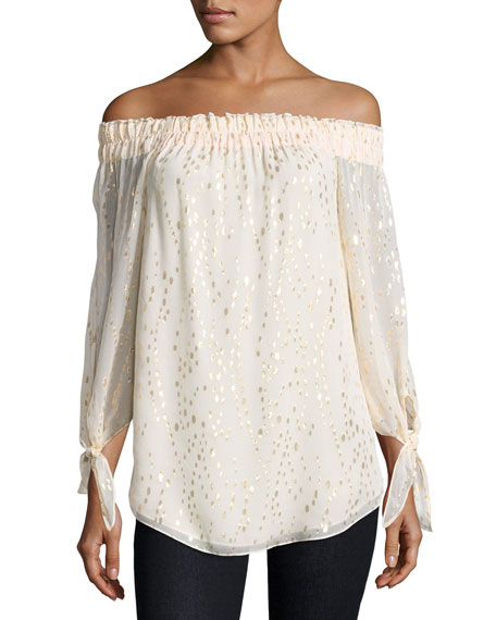 Kyla Metallic-Dot Off-the-Shoulder Top