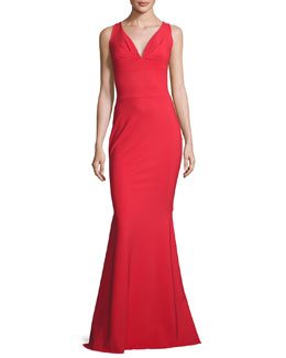 Sleeveless Stretch Jersey Mermaid Gown, Passion