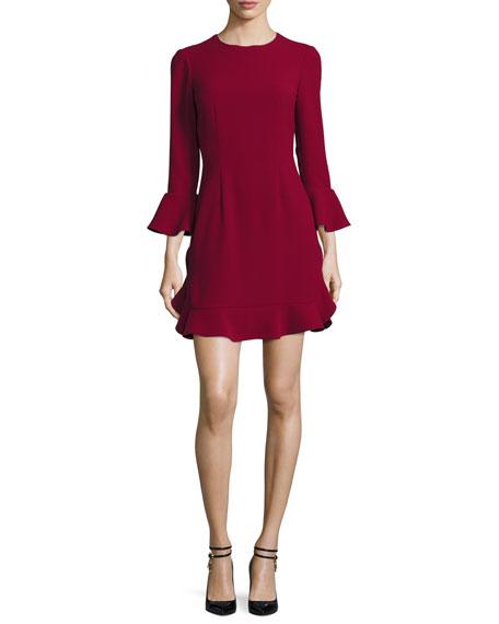 Jill Jill Stuart Bell-Sleeve Jersey Cocktail Dress, Currant