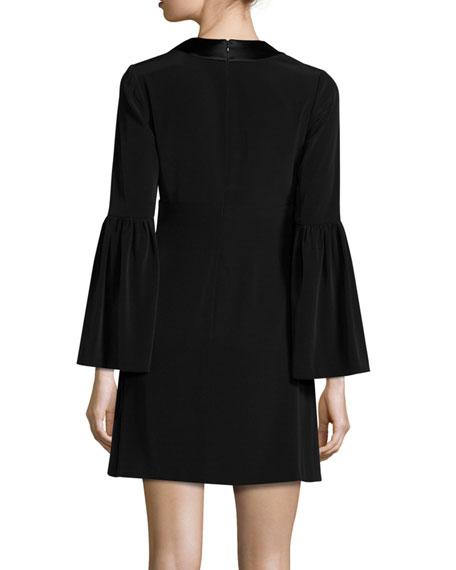 Velour Bell-Sleeve Shift Dress, Black