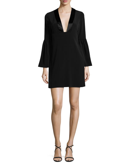 Jill Jill Stuart Velour Bell-Sleeve Shift Dress, Black