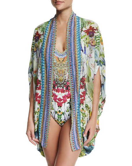 Open-Front Embellished Silk Cardigan/Cape Coverup, Exotic Hypnotic