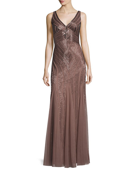 Aidan Mattox Sleeveless Beaded Mesh Gown, Sepia