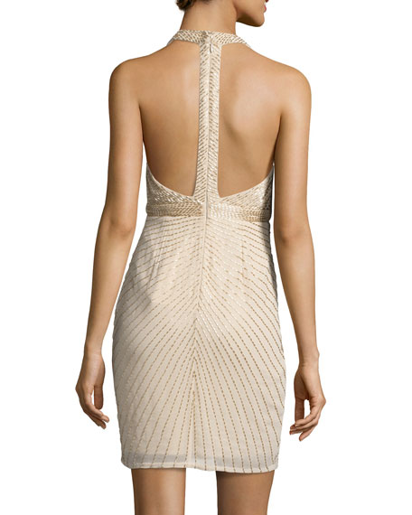 Sleeveless Beaded Georgette Cocktail Dress, Light Gold
