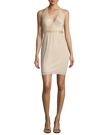 Aidan Mattox Sleeveless Beaded Georgette Cocktail Dress, Light