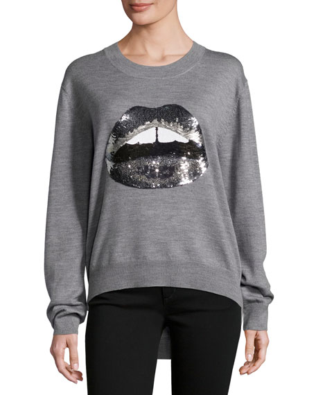 Lara Lip Tonal Sequined Joey Jumper, Gray