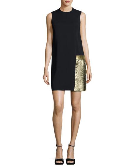 Aoife Metallic Leather-Trim Shift Dress, Black/Gold