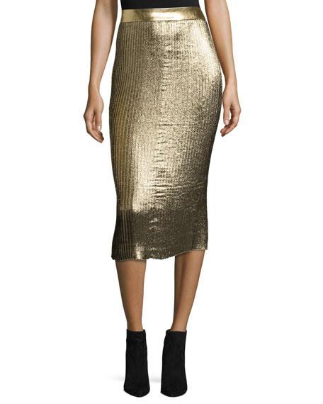 Markus Lupfer Brana Pleated Glitter Midi Skirt