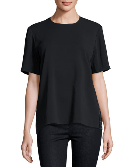 Markus Lupfer Aoife Metallic-Back Short-Sleeve Top, Black/Navy