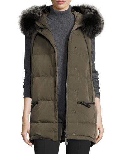 Fur-Trimmed Hooded Puffer Vest, Loden
