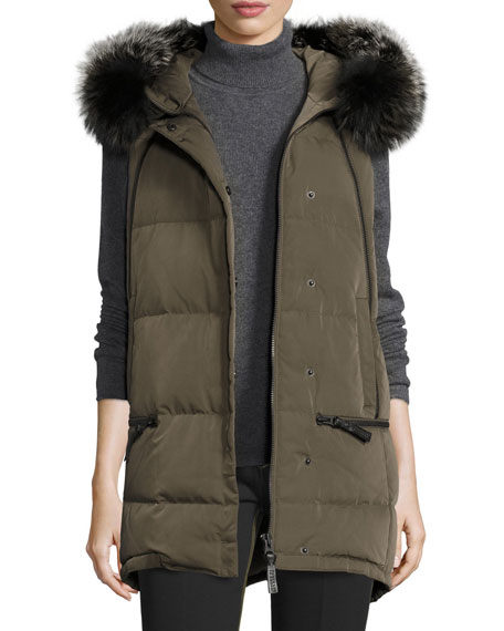 Derek Lam 10 Crosby Fur-Trimmed Hooded Puffer Vest,