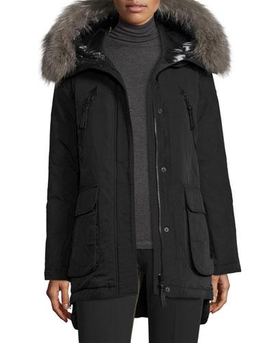 Long Fur-Trimmed Hooded Puffer Coat, Black