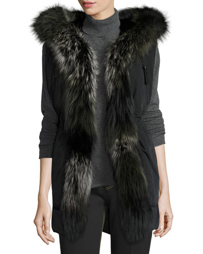 Fur-Trimmed Hooded Vest, Black