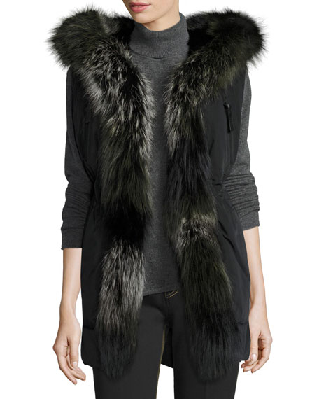 Derek Lam 10 Crosby Fur-Trimmed Hooded Vest, Black