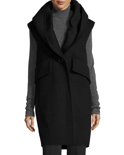 Oversized Wool-Blend Vest, Black