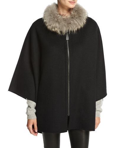 Wool-Blend Cape w/ Fox Fur Collar, Black/Navy