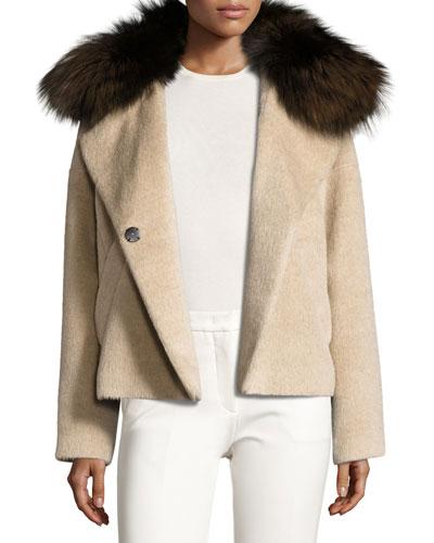 Fur-Trim Colorblock Coat, Beige