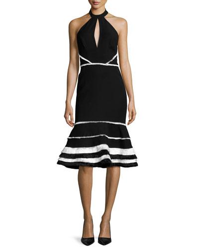 Doriann Tiered-Fringe Midi Dress