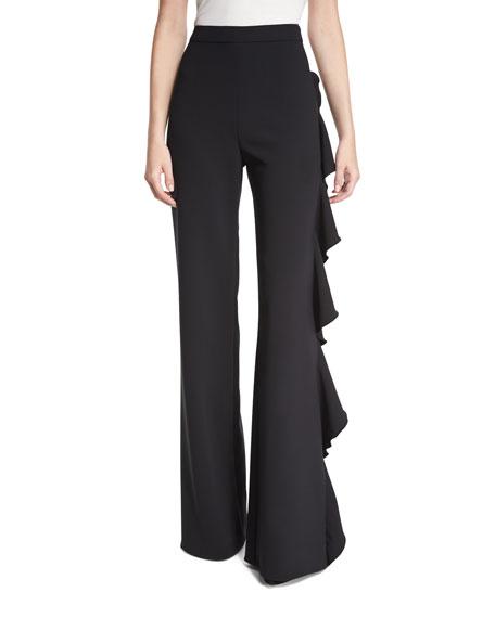 Alexis Karlina Ruffle-Trim Wide-Leg Pants, Black