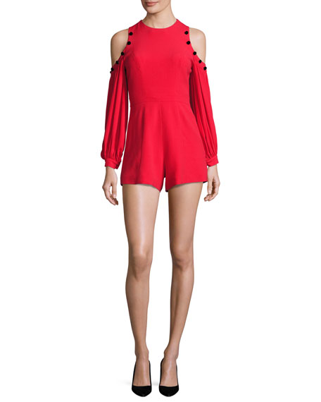 Asher Button-Trim Cold-Shoulder Romper