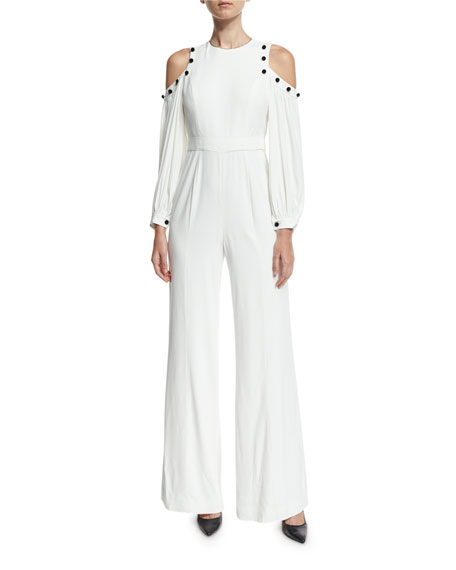 Alexis Easton Cold-Shoulder Wide-Leg Jumpsuit, White