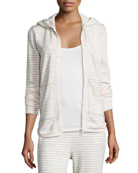 ATM Anthony Thomas Melillo Hooded Striped Terry Sweatshirt,